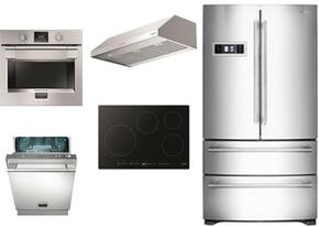 """5-Piece Stainless Steel Kitchen Package with FM36CDFDS1 36"""" French Door Refrigerator, F7IT30S1 30"""" Electric Cooktop, F4UC30S1 30"""" Range Hood and F6PSP30S1 30"""" Single Wall Oven and F6PDW24SS1 24"""" Dishwasher"""