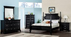 10430QDMNC Canterbury 5 PC Poster Bed with Dresser + Mirror + Nightstand + Chest in Black Finish