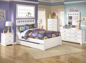 Lulu Full Bedroom Set with Panel Bed with Trundle, Dresser, Mirror, 2 Nightstands and Chest in White