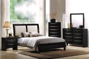 04157EKDMCN Ireland eastern King Size Sleigh Bed + Dresser + Mirror + Chest + Nightstand in Black Finish