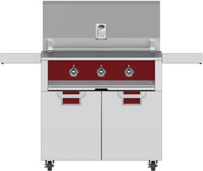 "Aspire Series 36"" Natural Gas Grill with ECD36RD Tower Grill Cart with Two Doors, in Matador Red"