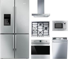 "6-Piece Kitchen Package with FQ75XPEDU 36"" French Door Refrigerator, SR60GHU3 24"" Gas Cooktop, SF399XU 30"" Electric Single Oven, MI20XU 30"" Microwave, KSM24XU24"" Hood and STU8649X Built In Dishwasher in Stainless Steel"