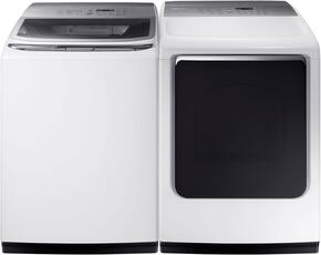 "White Laundry Pair with WA52M8650AW 27"" Washer (5.3 cu. ft. Capacity) and DVE52M8650W 27"" Electric Dryer (7.4 cu. ft. Capacity)"