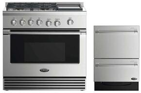 "2 Piece Stainless Steel Kitchen Package With RDV2364GDN 36"" Gas Freestanding Range and Free DD24DV2T7 24"" Drawers Dishwasher"