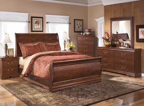 Wilmington Queen Bedroom Set with Sleigh Bed, Dresser, Mirror and Chest in Reddish Brown