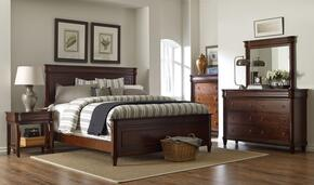 Aryell 4906QPBNTDM 4-Piece Bedroom Set with Queen Panel Bed, Night Table, Dresser and Mirror in Autumn Cherry Finish