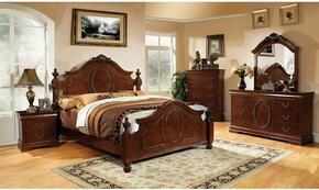 Velda II Collection CM7952KBDMN 4-Piece Bedroom Set with King Bed, Dresser, Mirror, and Nightstand in Brown Cherry Finish