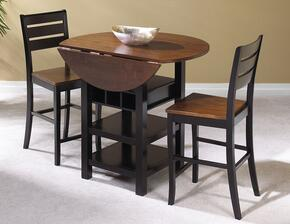 Quincy Collection CR-A7572-3PC 3 PC Bar Table Set with Pub Table + 2 Bar Stools