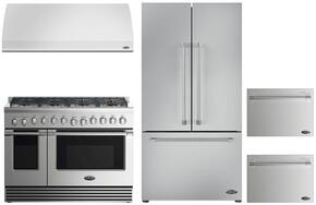 "RDV2488L 48"" Dual Fuel Range with 8 Sealed Dual Flow Burners, 4.8 Cu. Ft. Main Oven Capacity, 2.1 Cu. Ft. Secondary Oven Capacity, 5 Shelf Positions, and 6 Oven Functions: Stainless Steel"