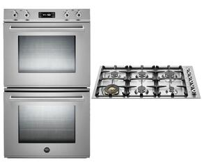 "Professional 2-Piece Stainless Steel Kitchen Package with FD30PROXE 30"" Double Electric Wall Oven and QB36600X 36"" Gas Cooktop"