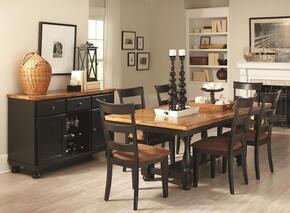 104611 Charlotte Rectangular Dining Table with Server, Four Chairs, Block Legs, Bun Feet, Wood Veneers and Solids Oak and Black Finish