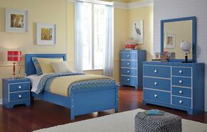 Bronilly Twin Bedroom Set with Panel Bed, Dresser, Mirror and Night Stand in Blue
