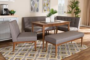 Wholesale Interiors BBT8051GREYWALNUT5PCDININGNOOKSET