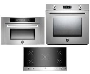 "Professional 3 Piece Stainless Steel Kitchen Package with F30PROXT 30"" Single Electric Wall Oven, PM360IGX 36"" Electric Cooktop and SO24PROX Built In Microwave"