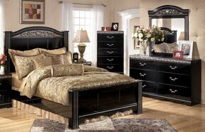 Constellations Queen Bedroom Set with Panel Bed, Dresser, Mirror and Chest in Deep Glossy Black