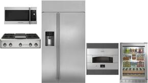 "5-Piece Stainless Steel Kitchen Package with ZISS420DKSS 42"" Side by Side Refrigerator, ZGU364NDPSS 36"" Gas Rangetop, ZEP30SKSS 30"" Pizza Oven, ZSA1201JSS 30"" Over the Range Microwave, and ZDBR240HBS 24"" Beverage Center"