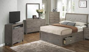G1205BQSBDMTV 4 Piece Set including Queen Storage Bed, Dresser, Mirror and Media Chest in Gray