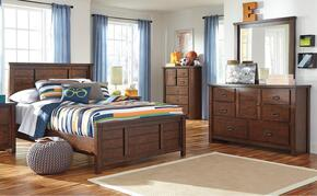 Hubbard Collection Twin Bedroom Set with Panel Bed, Dresser and Mirror in Rustic Brown