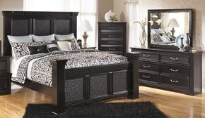 Cavallino Queen Bedroom Set with Mansion Bed, Dresser, Mirror and Chest in Deep Black