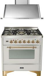"""2-Piece Stainless Steel Kitchen Package with UM76DMPI 30"""" Freestanding Dual Fuel Range (Brass Trim, 5 Burners, Timer) and UAM76I 30"""" Wall Mount Range Hood"""