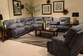 Voyager Collection 43811228-53/3028-53SEC 4 PC Sectional Sofa Set with Lay Flat Reclining Sofa + Loveseat + Wedge + Recliner in Slate Color