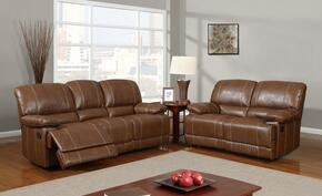 U9963-Rodeo Brown-SL 2 Piece Bonded Leather Reclining Livingroom Set in Brown, Sofa + Loveseat
