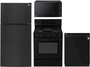 "4-Piece Kitchen Package with LTCS24223B 33"" Top Freezer Refrigerator, LRG3193SB 30"" Freestanding Gas Range, LMC1375SB 22"" Countertop Microwave, and LDP6797BB 24"" Built In Fully Integrated Dishwasher in Black"