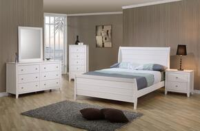 Selena Collection 400231FSET 5 PC Bedroom Set with Full Size Bed + Dresser + Mirror + Chest + Nightstand in White Finish