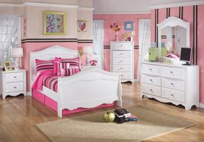 Exquisite Full Bedroom Set with Sleigh Bed, Dresser, Mirror, Single Nightstand and Chest in White