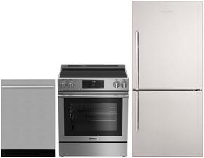 "3-Piece Kitchen Package with BRFB1812SSN 30"" Bottom Freezer Refrigerator, BERU30420SS 30"" Freestanding Electric Range, and a free DWT57500SS 24"" Built In Fully Integrated Dishwasher in Stainless Steel"