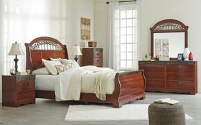 Fairbrooks Estate Queen Bedroom Set with Sleigh Bed, Dresser, Mirror, Nightstand and Chest in Reddish Brown