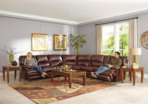 Austin Collection 4205-8-9-1166-29/1266-29 3-Piece Sectional with Reclining Sofa, Wedge and Reclining Loveseat in Walnut