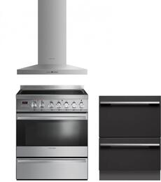 "3 Piece Kitchen Package With OR30SDPWSX1 30"" Dual Fuel Freestanding Range, DD24DI7 24"" Dishwasher And HC30PHTX1 30"" Range Hood"
