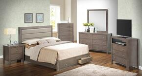 G2400 Collection G2405CQSBSET 6 PC Bedroom Set with Queen Size Storage Bed + Dresser + Mirror + Chest + Nightstand + Media chest in Grey Finish