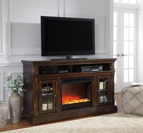Roddinton Collection W701-58F02 2-Piece Set with TV Stand and W100-02 Fireplace Insert in Dark Brown