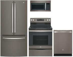 """4-Piece Kitchen Package with GNE25JMKES 33"""" French Door Refrigerator, JGB660EEJES 30"""" Freestanding Gas Range, JVM6175EKES 30"""" Over the Rage Micorwave Oven and GDT655SMJES 24"""" Built In Dishwasher in Slate"""