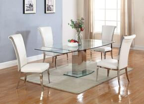 Mackenzie Collection MACKENZIE-JOY-5PC Dining Room Set with Dining Table + 4 Side Chairs in Silver Finish