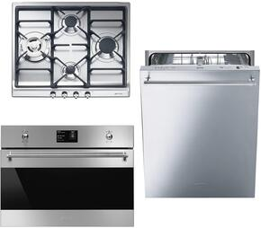 """3-Piece Kitchen Package with SR60GHU3 24"""" Gas Cooktop, SC709XU 27"""" Single Wall Oven, and STU8649X 24"""" Fully Integrated Dishwasher"""