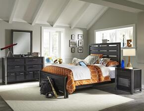 Graphite 8942401530531BDMN 4 PC Bedroom Set with Twin Size Bed + Dresser + Mirror + Nightstand in Black Color
