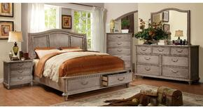 Belgrade I Collection CM7613QSBDMCN 5-Piece Bedroom Set with Queen Storage Bed, Dresser, Mirror, Chest, and Nightstand in Rustic Natural Tone Finish