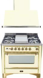 "2-Piece Antique White Kitchen Package with UM90FDVGGA 36"" Freestanding Gas Range (Brass Trim, 4 Burners, Griddle) and UAM90A 36"" Wall Mount Range Hood"