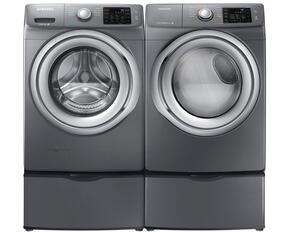 "Stainless Platinum Front Load Laundry Pair with WF42H5200AP 27"" Washer, DV42H5200GP 27"" Gas Dryer and 2 WE357A0P Pedestals"