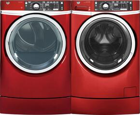 "Ruby Red Front Load Laundry Pair with GFW490RPKRR 28"" Washer and GFD49ERPKRR 28"" Electric Dryer"