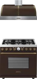 2-Piece Brown Matte with Bronze Accent Kitchen Package with RD361SCMB 36