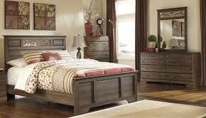 Allymore Queen Bedroom Set with Panel Bed with Dresser, Mirror and Chest in Aged Brown