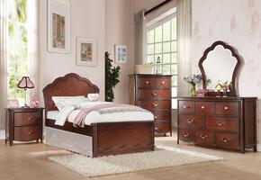 Cecilie 30275F6PC Bedroom Set with Full Size Bed + Dresser + Mirror + Chest + Nightstand + Trundle in Cherry Finish