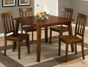Simplicity Collection 452425SET 5 PC Dining Room Set with Square Dining Table + 4 Slat Back Chairs in Caramel Finish