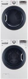 "White Front Load Stacked Laundry Pair with WM3770HWA 27"" Washer, DLEX3570W 27"" Electric Dryer, and KSTK1 Stacking Kit"