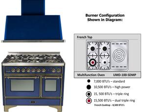 "2-Piece Midnight Blue Kitchen Package with UMD100SDMPBLY 40"" Freestanding Dual Fuel Range (Oiled Bronze Trim, 4 Burners, French Cooktop) and UAM100BL 40"" Wall Mount Range Hood"