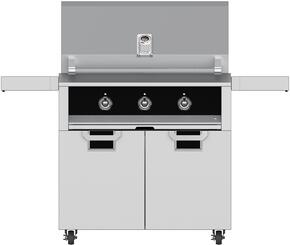 "Aspire Series 36"" Natural Gas Grill with ECD36BK Tower Grill Cart with Two Doors, in Stealth Black"